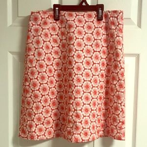 Boden 10R 100% cotton coral embroidered skirt